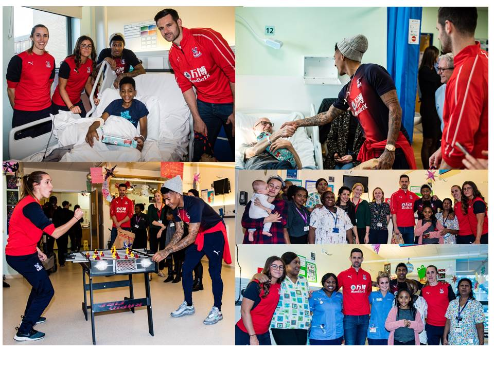 Images of Crystal Palace footballers visiting our wards for Christmas 2018