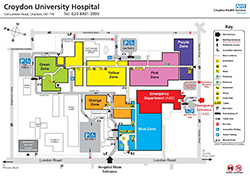 Map of Croydon University Hospital